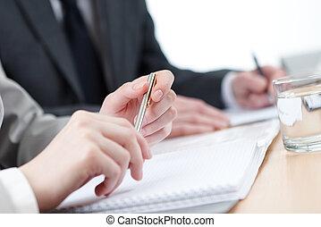 affaires gens, écriture