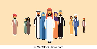 affaires gens, arabe, équipe, groupe, arabe
