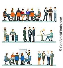 affaires gens, bureau, groupe, réunion