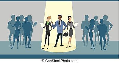 affaires gens, foule, stand, projecteur, groupe, dessin animé, dehors