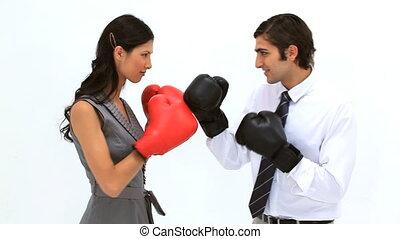 affaires gens, gants boxe, jouer