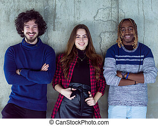 affaires gens, multiethnic, site construction, portrait