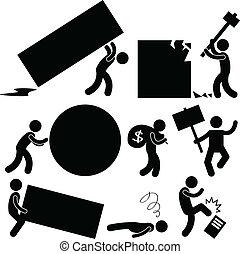 affaires gens, travail, fardeau, colère