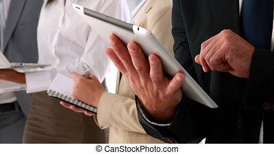 affaires gens, utilisation, pc tablette