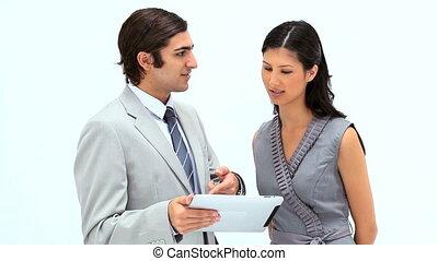 affaires gens, utilisation, sourire, tablette, informatique