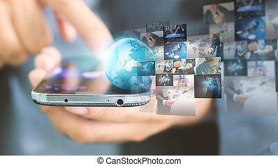 affaires globales, connection., social, réseau, concept
