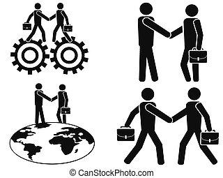 affaires, homme affaires, ensemble