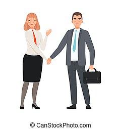affaires illustration, fond, blanc, caractère, partenaires, poignée main