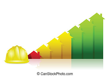 affaires immobiliers, graphique, diagramme, construction