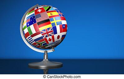 affaires internationales, école, globe, mondiale, drapeaux