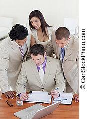 affaires internationales, gens, étudier, a, document