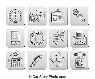 affaires internet, icônes bureau
