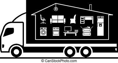 affaires, ménage, camion, replacer
