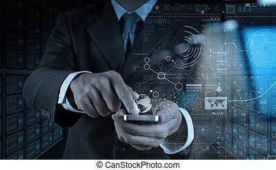 affaires numériques, homme affaires, mobile, couche, téléphone, stratégie, utilisation, effet, main, concept
