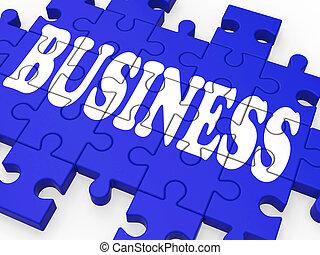 affaires, puzzle, constitué, projection, business