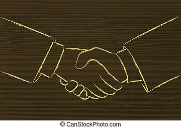 affaires, secousse, association, mains
