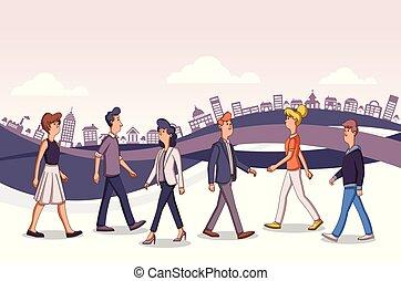 affaires ville, coloré, gens, rue, dessin animé