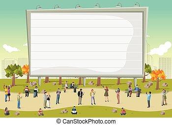 affaires ville, gens, téléphones, ordinateurs, grand, billboard., utilisation, intelligent