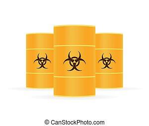 affald, baggrund., hvid, radioaktive, tønder, affald, illustration., vektor, biohazard, aktie