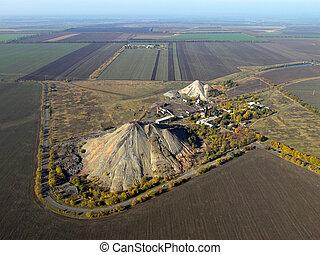 affald, bank, (aerial, view).