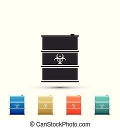 affald, fare, keg., isoleret, baggrund., toksisk, hvid, disaster., forurening, hazard, miljøbestemte, udstrålinger, illustration, ikon, affaldet, radioaktive, biohazard, økologiske, vektor, biologiske, tønde, eller