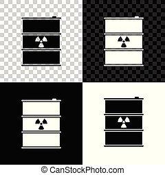 affaldet, forurening, affald, miljøbestemte, danger., keg., isoleret, illustration, tønde, baggrund., udstrålinger, vektor, sort, toksisk, radioaktive, hvid, affald, transparent, ikon