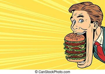 affamato, cibo, gigante, uomo, hamburger, strada