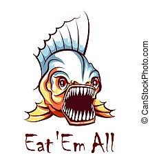 affamato, mascotte, vettore, emblem., piranha, illustration.
