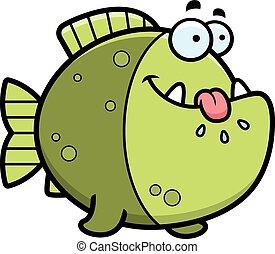 affamato, piranha, cartone animato