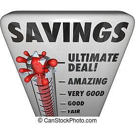affare, livello, vendita, affare, scontare, risparmi, termometro, negozio