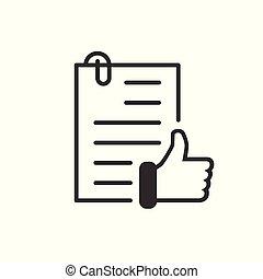 affari, accordo, vettore, approvato, illustrazione, isolato, appartamento, style., icona, bianco, autorizzare, documento, fondo., segno spunta, concept.