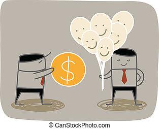 affari, acquisto, felicità, uomo