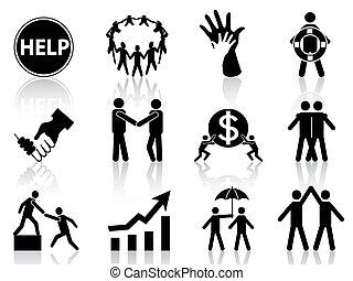 affari, aiuto, icone