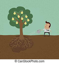 affari, albero, irrigazione, uomo, idea