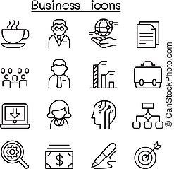 affari, amministrazione, icona, set, in, linea sottile, stile
