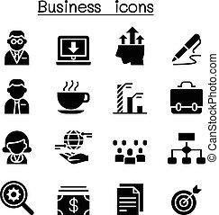 affari, amministrazione, icona, set