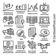 affari, amministrazione, icone, linea, style., pacco, 05.