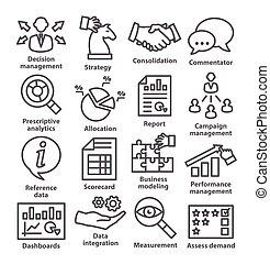 affari, amministrazione, icone, linea, style., pacco, 18.