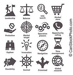 affari, amministrazione, icons., pacco, 13.
