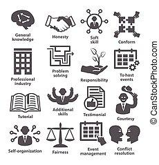 affari, amministrazione, icons., pacco, 22.