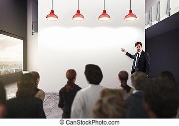 affari, analisi, in, un, ufficio., 3d, interpretazione