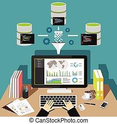 affari, analytics, dashboard., intelligenza, dati, mining.