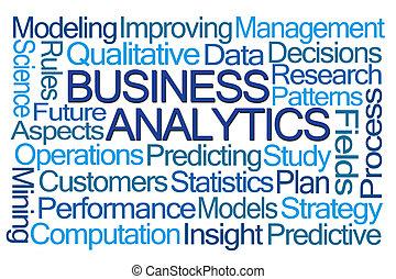 affari, analytics, parola, nuvola