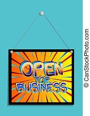 affari, aperto, segno.