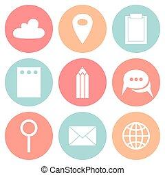 affari, appartamento, cerchio, icone