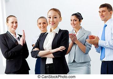 affari asiatici, donna, con, colleghi