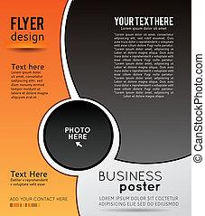 affari, astratto, -, onda, sfondo nero, arancia