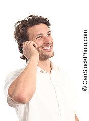 affari, attraente, giovane, con, uno, telefono