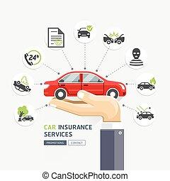 affari, automobile, mani, vettore, automobile., presa a terra, services., assicurazione, rosso, illustrations.