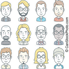 affari, avatar, icons., persone